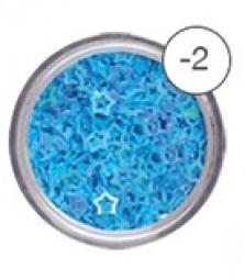 Glitterstars m.hål Ljusblå